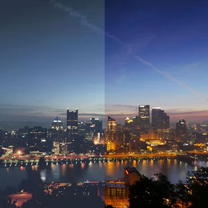 都市の風景にカラーフィルターを適用する前と後の比較写真