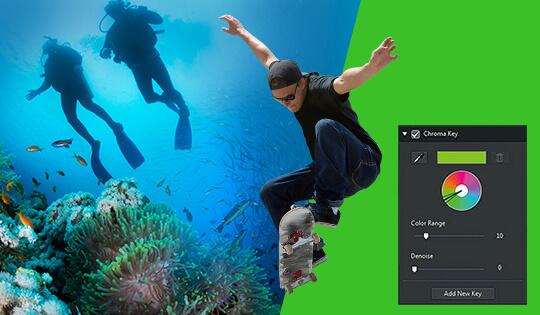 PowerDirector Benutzeroberfläche vor einem Green Screen mit einem Skater-Boy und zwei Tauchern