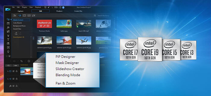 PowerDirector interface on a colorful background with the logos of major intel processors by its side
