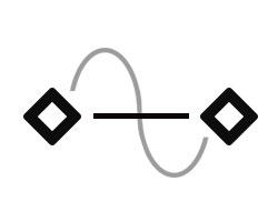 zwei Diamantformen mit einer geraden und einer kurvigen Linie dazwischen