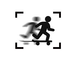 simplified stick figure of a skateboarder moving fast