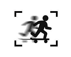 vereinfachtes Strichmännchen eines Skateboarders, der sich schnell bewegt