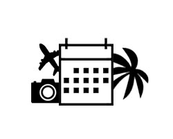 Schwarz-Weiß-Zeichnung eines rechteckigen Kalenders mit einer Palme auf der rechten Seite und einer Kamera und eines Flugzeugs auf der linken Seite